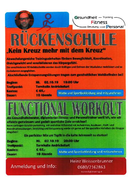 Rückenschule und Functional Workout