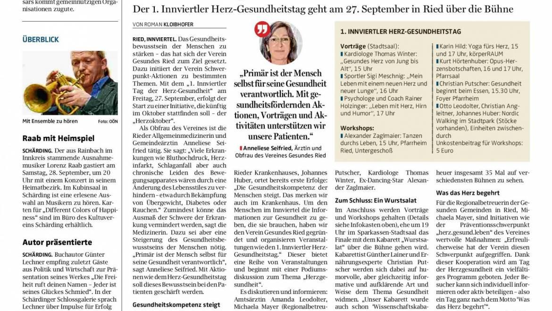 Von Tanz und Sport bis Wurstsalat (OÖN 16.9.19 – Herzoktober 2019)