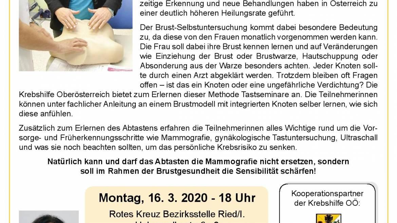 """""""Brust – bewusst"""" – Vorsorge- & Tastseminar zur Brust-Selbstuntersuchung in Ried"""